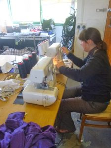 Sewing at Incan HQ